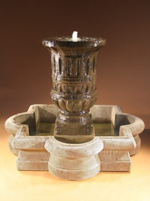 BLOOMER URN FOUNTAIN WITH QUATREFOIL BAS